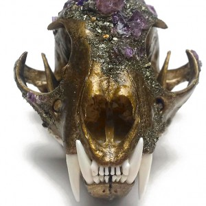 Kristin Jarvis Bronze Amethyst Crystalized Fairy Skull