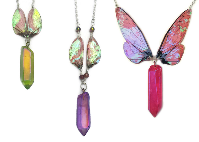 Kristin Jarvis Silver Fairy Wing Aura Quartz Necklaces
