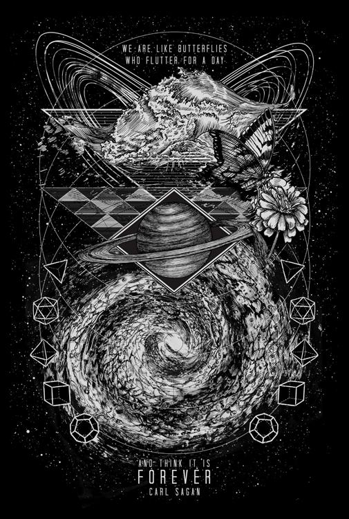 artwork on carl sagan space t shirt