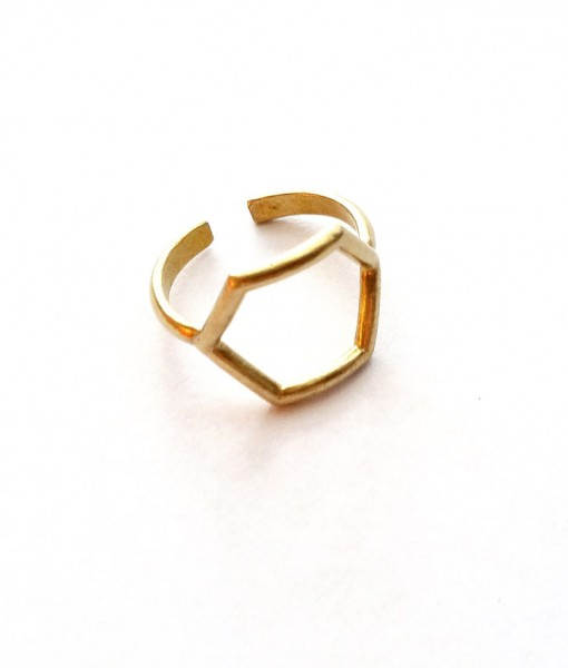 brass-hexagon-ring handcrafted brass jewelry indie design