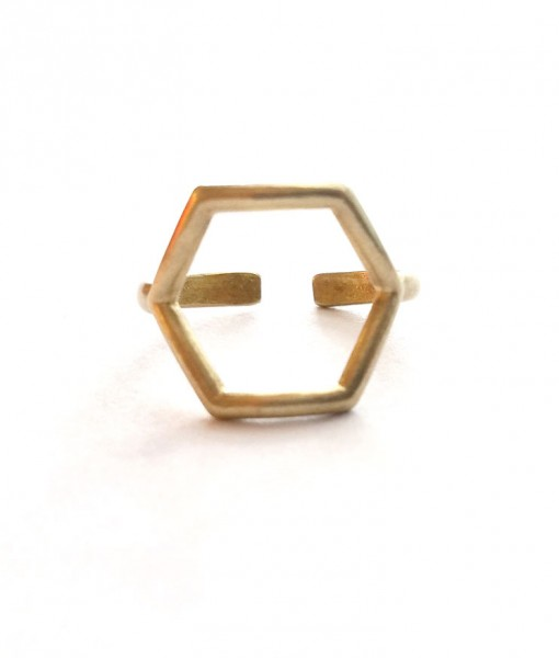 front-view-of-brass-hexagon-ring-handmade-jewelry
