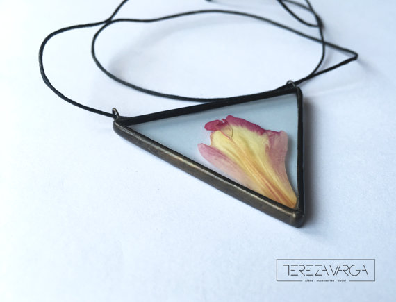 glass necklace with flowers handmade jewelry tereza varga