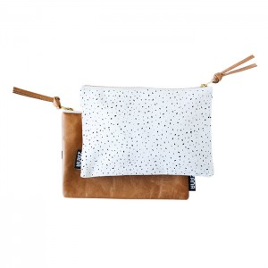 White specks leather clutch handmade leather goods pop shop america online shopping