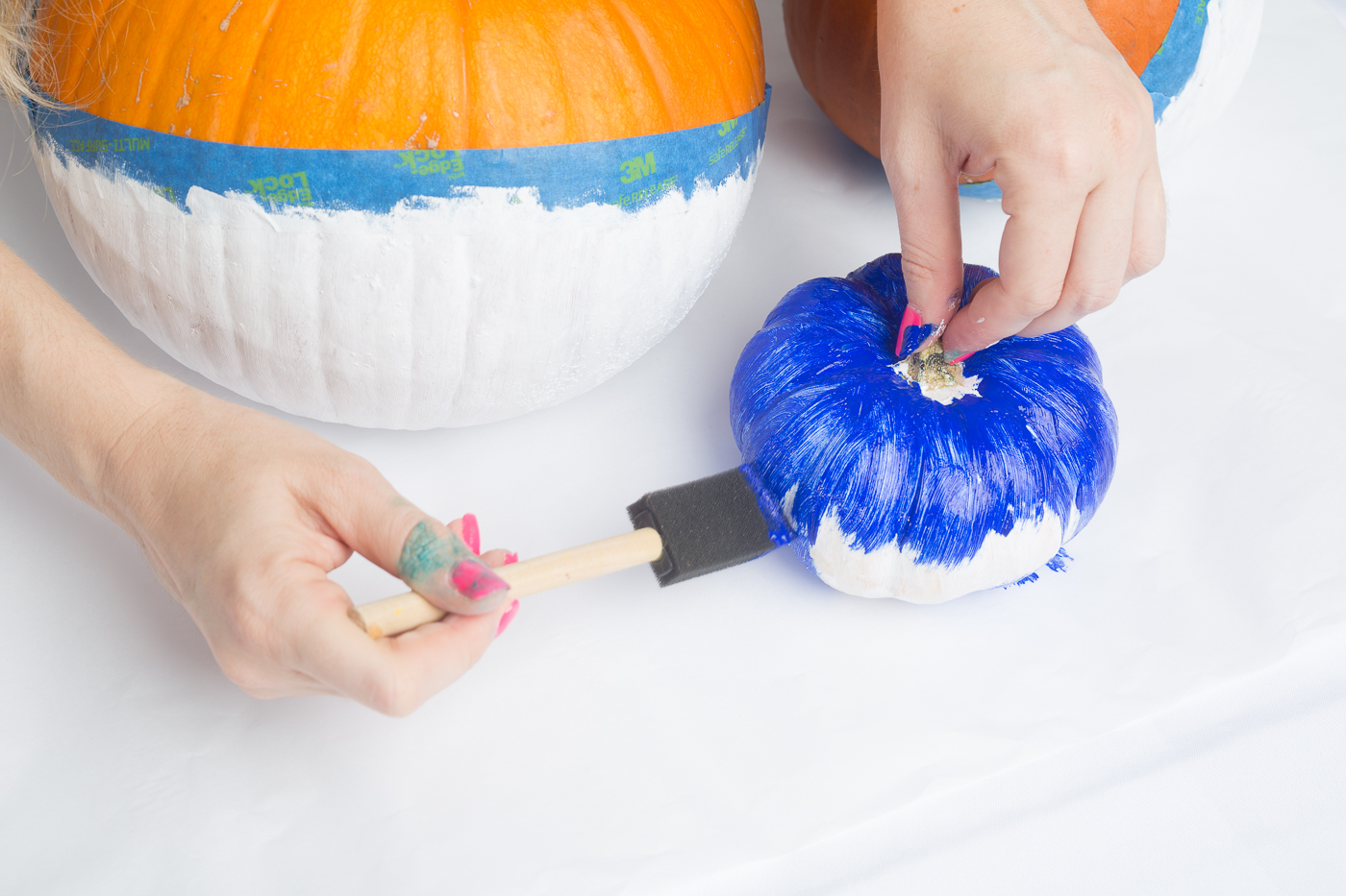 color blocked glitter pumpkins no carve pumpkin diys