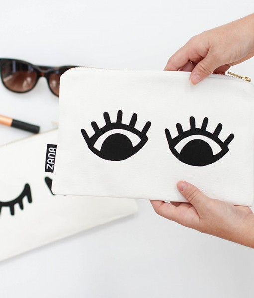 eyes canvas clutch handmade purse