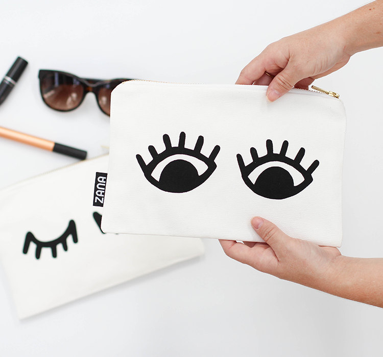 eyes canvas clutch handmade purse