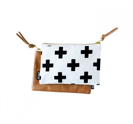 swiss cross leather clutch front and back