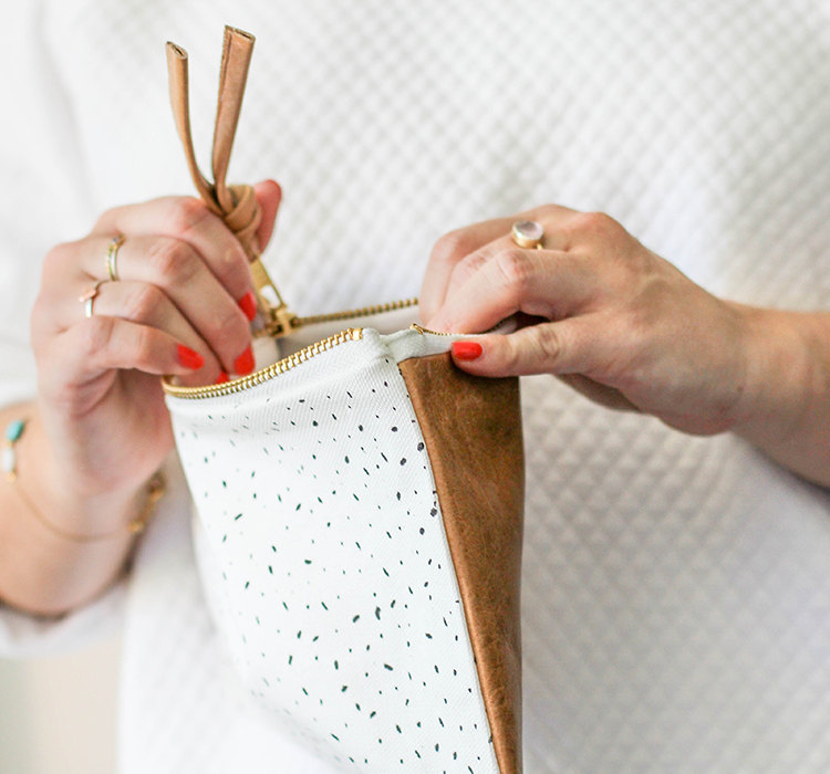 white specks leather clutch handmade leather goods pop shop america