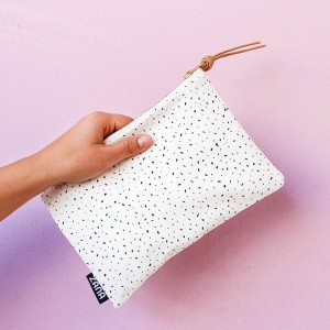 white specks leather clutch side photo leather accessories