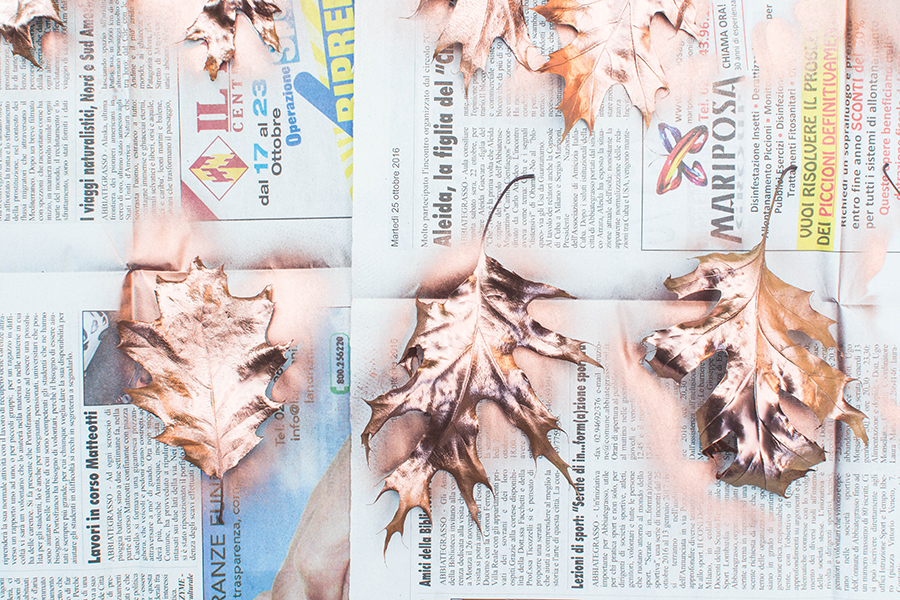 Spray Painted Leaves for Autumn Garland DIY