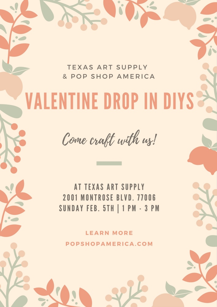 valentine's diys with pop shop america and texas art supply
