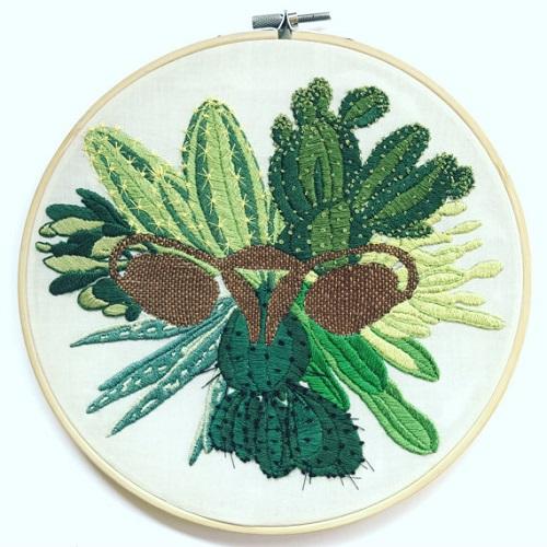 Jess_de_Wahls_Embroidery Art Cacti Ovaries