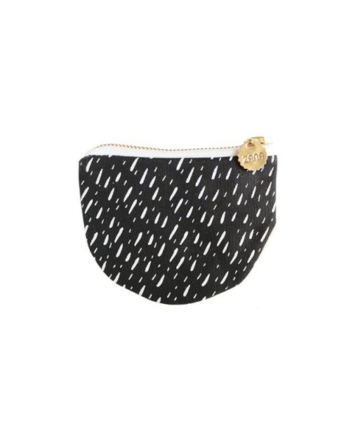 black abstract stripes and leather coin purse