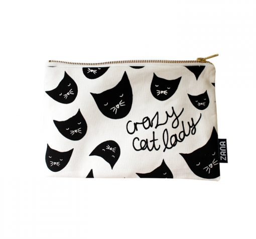 crazy cat lady canvas clutch