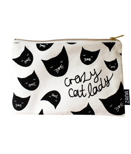 crazy cat lady canvas clutch
