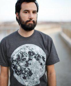 detail of men's moon t shirt handmade indie t shirts