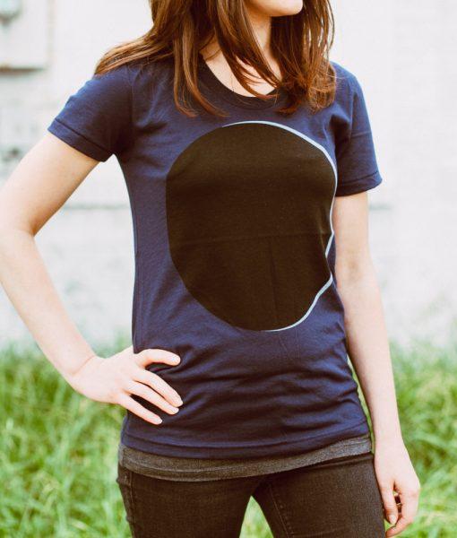detail of women's eclipse t shirt