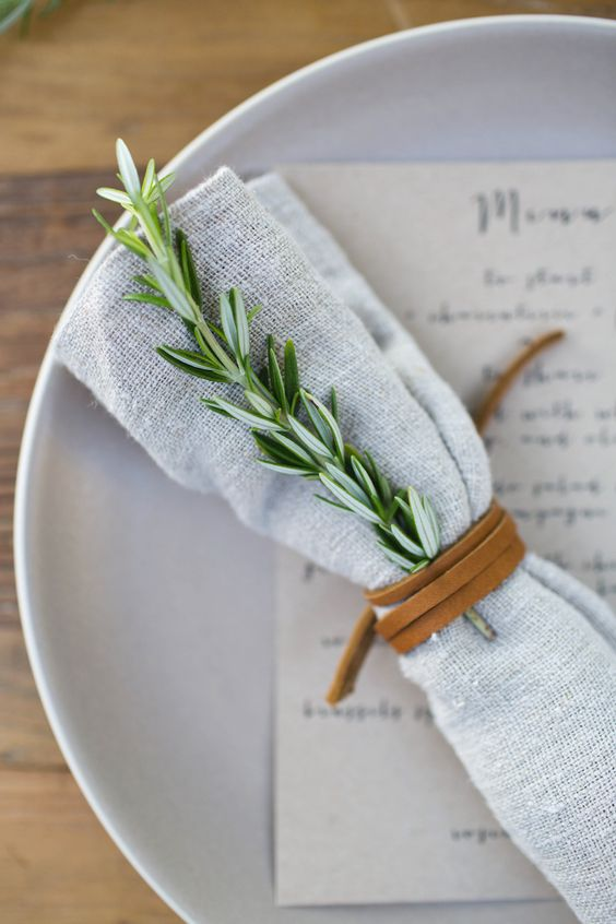 rosemary and leather table setting spring garden party