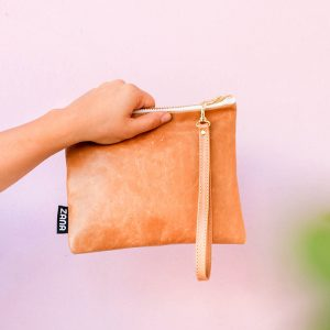 side view tumbled leather clutch pop shop america