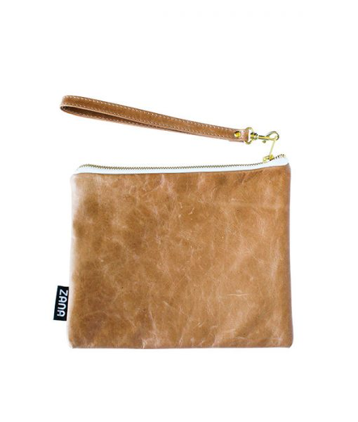 tumbled leather clutch by zana