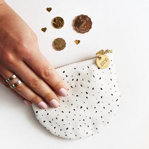 white abstract dots coin purse