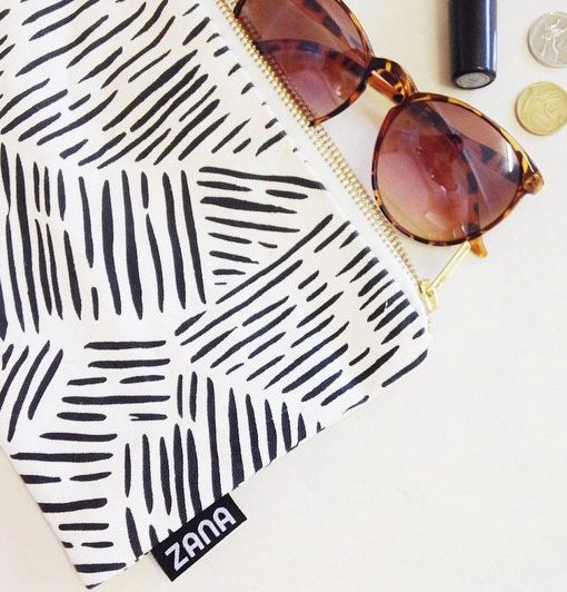 wild stripes canvas clutch with accessories