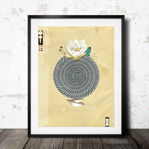 wonderful world art print with lotus art from spain