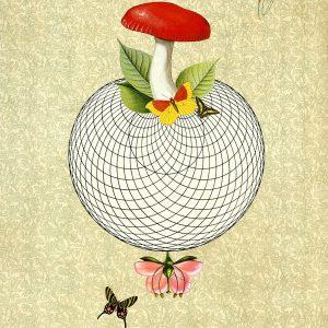 wonderful world i – art print with mushroom