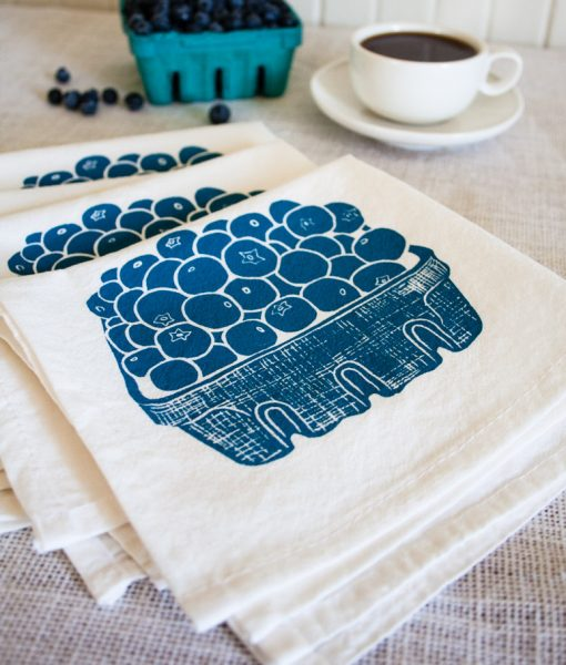 blueberry flour sack tea towel