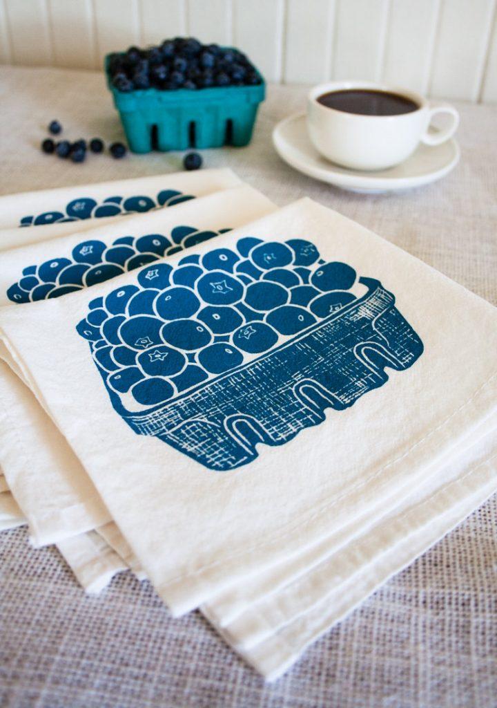 blueberry flour sack tea towel