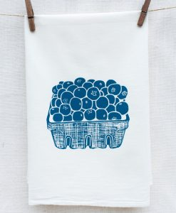 blueberry flour sack towel handmade home goods