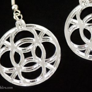 close up of celtic circle earrings by spitphire