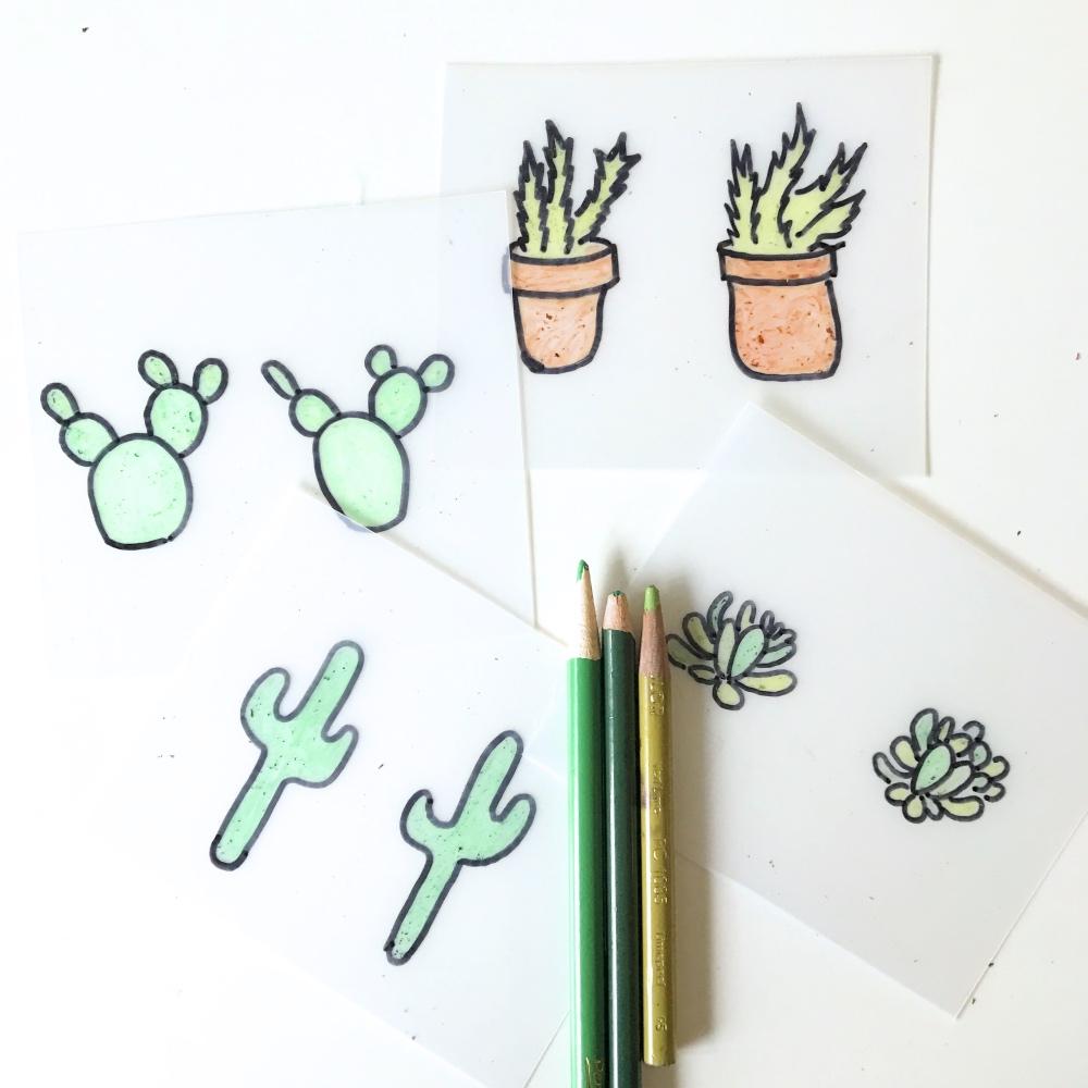 drawings of cactus for cactus earrings succulent earrings