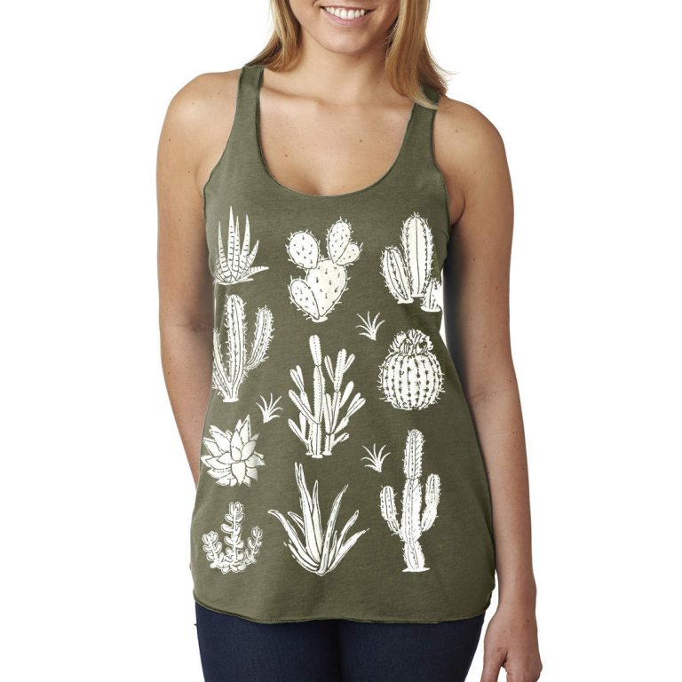 green cactus tank top cotton t shirts pop shop america