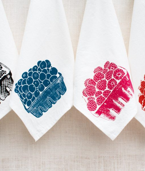 handmade kitchen towels with berries by tinas produce