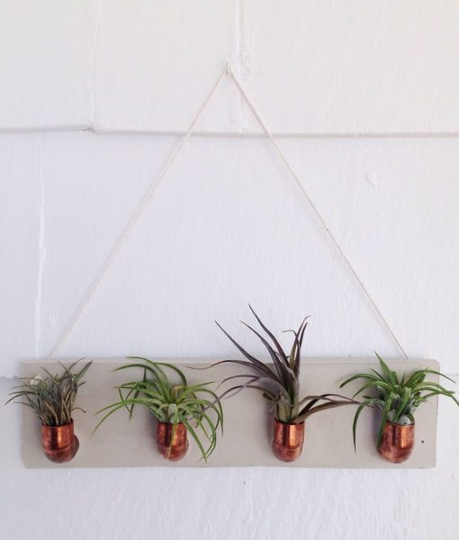 large copper concrete wall planter