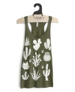 sage green cactus t shirt tank top handmade clothing