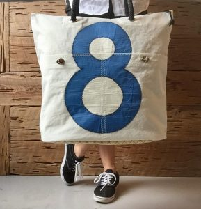 sail boat tote bag by two cats houston tx