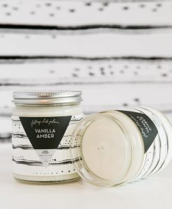 vanilla amber scented candle handmade home goods