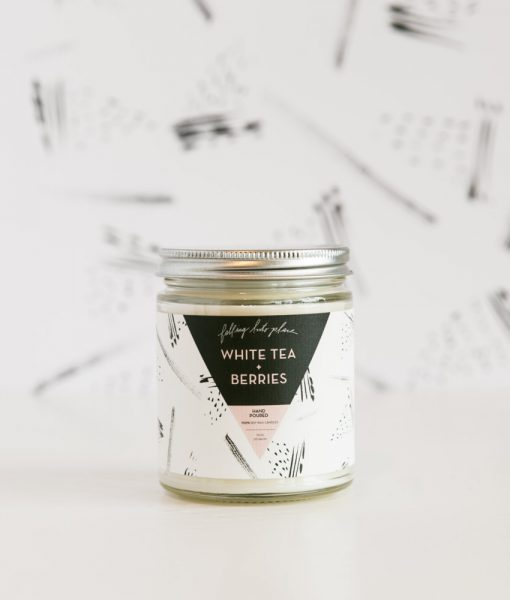 white tea + berries candle handmade soy candles