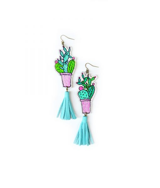 Cactus_Earrings__Mint_Earrings__Teal_Tassel_Earrings__Green_Plant_Earrings__Leaf_Earrings__Long_Statement_Earrings__Illustration_Earrings