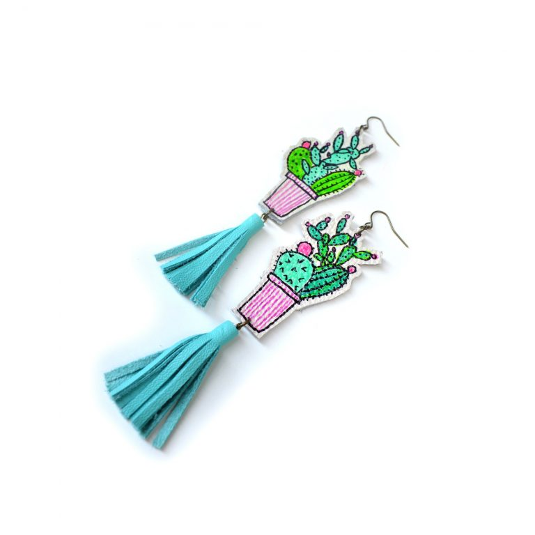 Cactus_Earrings__Mint_Earrings__Teal_Tassel_Earrings__Green_Plant_Earrings__Leaf_Earrings__Long_Statement_Earrings__Illustration_Earrings_2