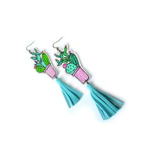 Cactus_Earrings__Mint_Earrings__Teal_Tassel_Earrings__Green_Plant_Earrings__Leaf_Earrings__Long_Statement_Earrings__Illustration_Earrings_5