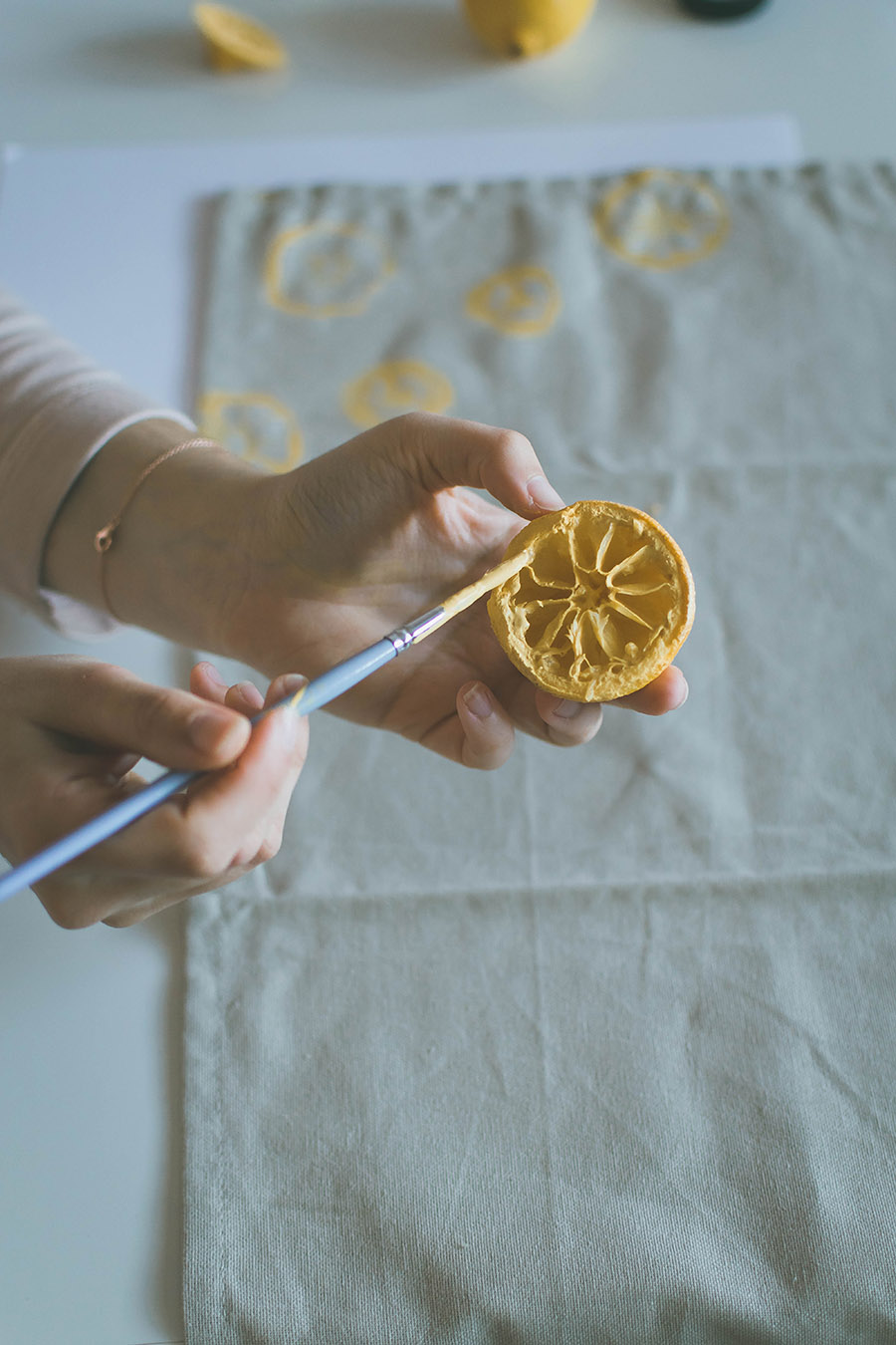 DIY Lemon Stamped Tea Towel Process