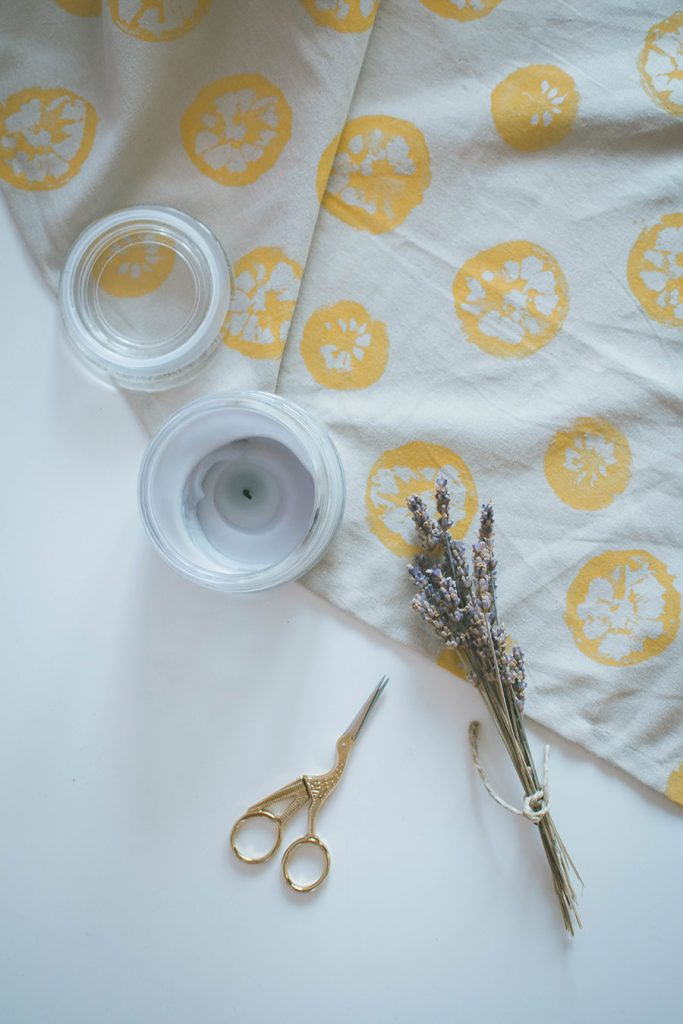 DIY Lemon Stamped Tea Towel Tutorial How To