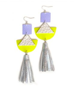 Geometric_Earrings__Neon_Yellow_Leather_Earrings__Holographic_Silver_Leather_Tassel_Earrings__Hologram_Jewelry
