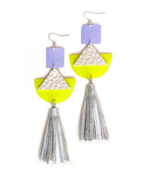 Geometric_Earrings__Neon_Yellow_Leather_Earrings__Holographic_Silver_Leather_Tassel_Earrings__Hologram_Jewelry