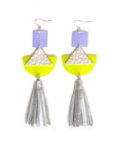 Geometric_Earrings__Neon_Yellow_Leather_Earrings__Holographic_Silver_Leather_Tassel_Earrings__Hologram_Jewelry_2