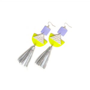 Geometric_Earrings__Neon_Yellow_Leather_Earrings__Holographic_Silver_Leather_Tassel_Earrings__Hologram_Jewelry_3