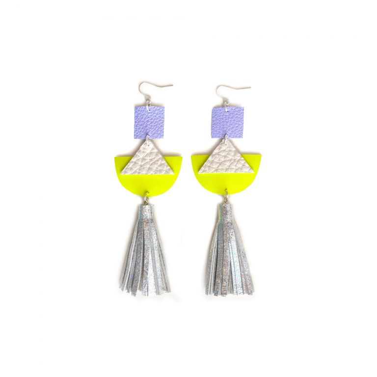Geometric_Earrings__Neon_Yellow_Leather_Earrings__Holographic_Silver_Leather_Tassel_Earrings__Hologram_Jewelry_4